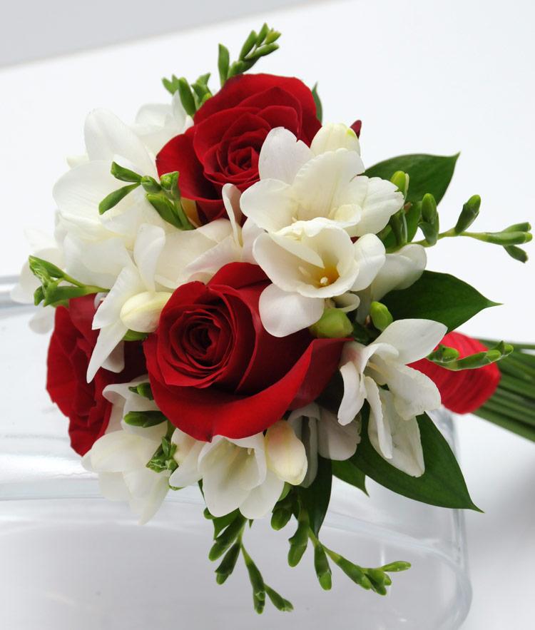 Three Rose Bouquet Freesia - Red | Las Vegas Wedding