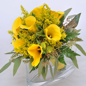 The Yellow Mini Calla Lilly Bouquet & Matching Lilly Boutonniere