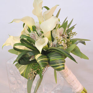 The White Mini Calla Lilly Bouquet & Matching Lilly Boutonniere